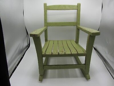 Vintage Wood Wooden Slat Seat Childrens Child Doll Rocking Chair Green Patina