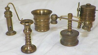Lot Of 5 High Quality Brass Dollhouse Pieces Candle Stick Washing Machine Candle