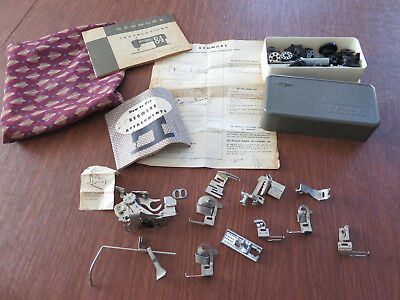 Large Lot Of Greist/Singer Sewing Machine Attachments Parts Case More