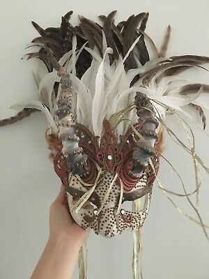 Cirque Du Soleil Beautiful Horned Feathered Mask