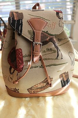Signare Womens Tapestry Small Flap Buckle Rucksack Backpack in Horse Design