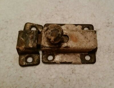 Vintage antique  metal cabinet cupboard latch with catch painted shabby  (#83H)