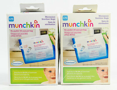2 packs Munchkin Re-usable Microwave Sterilizer Bags = 12 bags