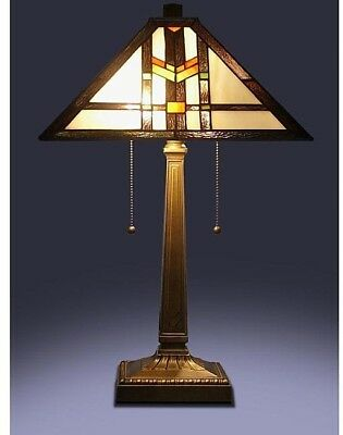 Craftsman Tiffany Style Table Lamp Mission Stained Glass Desk Arts and Crafts