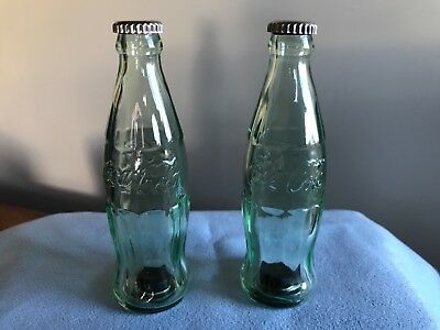 "Vintage Coca-Cola- Glass Bottles Salt & Pepper Shakers 4 1/2"" tall-1990's"