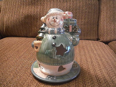 "Crazy Mountain Ceramic Snowman Tea Light/Votive Candle with Plate 7"" H"