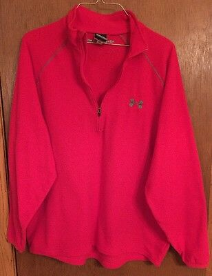 UNDER ARMOUR Mens MD. RED ZIP NECK FLEECE-LQQK-EUC