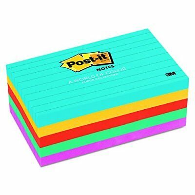Post-it Notes 6355AU Original Pads in Jaipur Colors 3 x 5 Lined 100-Sheet Pac...