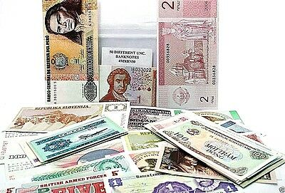 Collection of 50 Different World Banknotes,Uncirculated Mint Currency With List