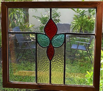 Antique Leaded English Stained Glass Window Wood Frame England Old House 8