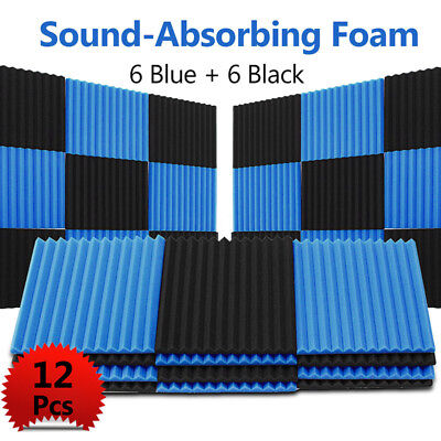 12 Pack BLUE BLACK Acoustic Panels Studio Soundproofing Foam Wedge tiles Tool