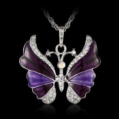 Butterfly Crystal Rhinestone Pendant Necklace Chain Women New Year Jewelry Gift