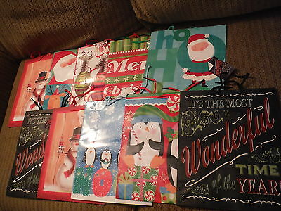 "NEW Lot of 10 CHRISTMAS HOLIDAY Gift Bags - LARGE 12.5"" x 10.25"" - LINDY BOWMAN"
