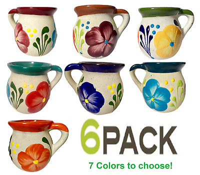 Mexican Mug Set Pottery Clay Jarrito 6 pk pack Traditional Cup Sand Finish