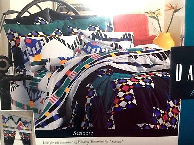 "VTG Dan River Twin Bed Sheet Set ""Swizzle"" Geometrical Abstract Multicolor NEW"