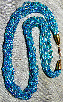 Vintage Classic Blue Turquoise Color Czech Seed Glass 12 Strands  Necklace