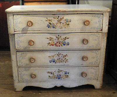 Antique Painted Floral French or Italian Dresser Shabby Chic