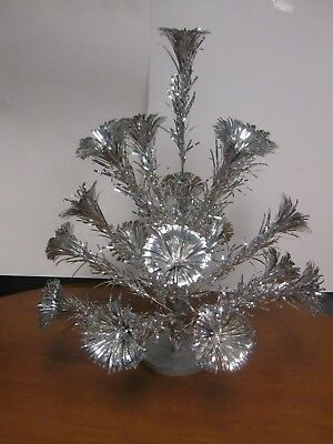 Aluminum Pom Pom Christmas Tree 2 ft Tall 17 Branches Metal Trees Corp Vtg 1960s