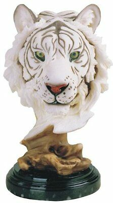 """8.5"""" White Tiger Collectible Wild Cat Animal Decoration Figurine Statue Bust"""