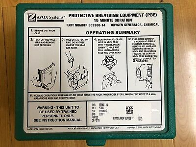 AVOX Systems PROTECTIVE BREATHING EQUIPMENT (PBE) 802300-14-New-Old Stock 2015
