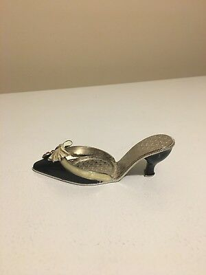 PartyLite Black Metal Slipper Shoe Red Heart Charm Bow Tea Light Candle Holder