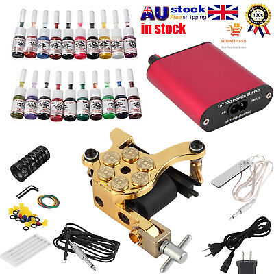 Hot Complete Tattoo Kit Machine Gun Power Supply Equipment Set + 20 Color Inks