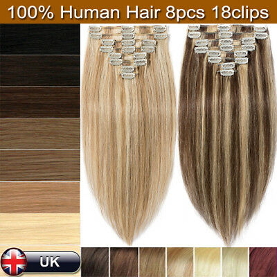 AAAA+ 100% Soft Clip In Remy Real Human Hair Extensions Highlight 8PCS Weft SALE