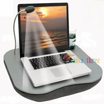 Portable Padded Cushion Laptop Desk Table with LED Lamp Light & Cup Holder【AU】