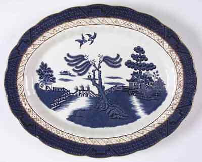 "Booths REAL OLD WILLOW BLUE 13 3/4"" Oval Serving Platter 38708"