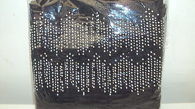 NIGERIAN Aso Oke Gele (Headtie) BLACK  with Rhinestones on last Strip - 1Pc