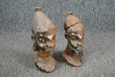 Set Of Two Hand Carved Wood Bust Figurines Man Woman Vintage