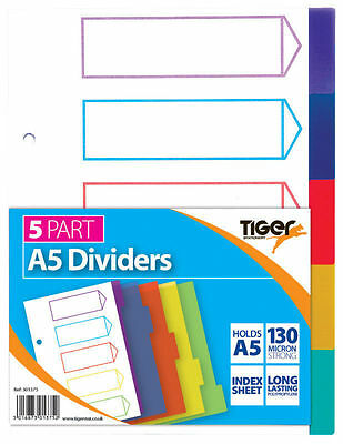 A5 File Dividers Coloured Plastic Subject Ring Binder Filing