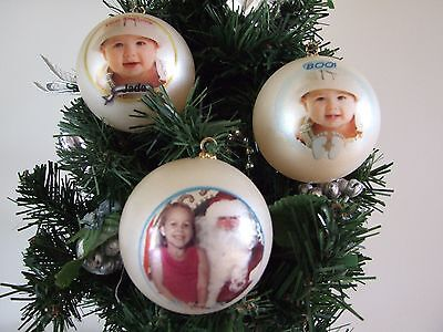 Xmas Baubles Personalised - Your Photo And Text - Christmas