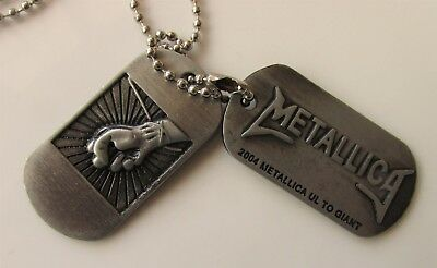 Metallica Set Of Metal Dog-Tags On Chain Thrash Heavy Metal 2004