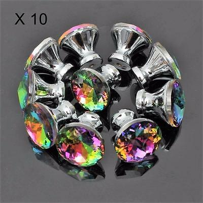 10  Vintage Style Glass Cabinet Knob pull Cupboard Dresser drawer Door handle