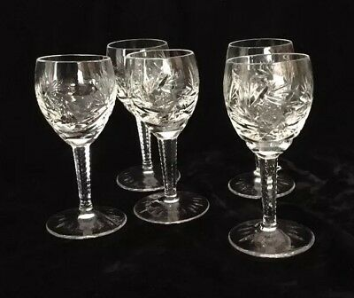 Cut Glass/Crystal Cordial Glasses  (5)