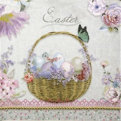 4x Paper Napkins for Decoupage Decopatch Craft Pastel Easter
