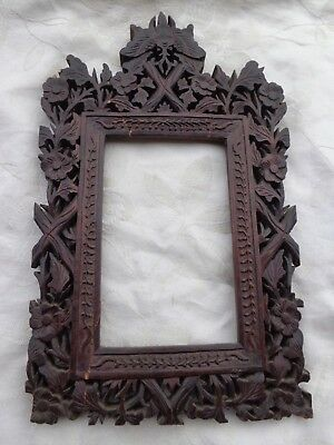 ANTIQUE 19TH CENTURY HAND CARVED WOOD MOTH FLORAL CHINESE FRAME for RESTORATION