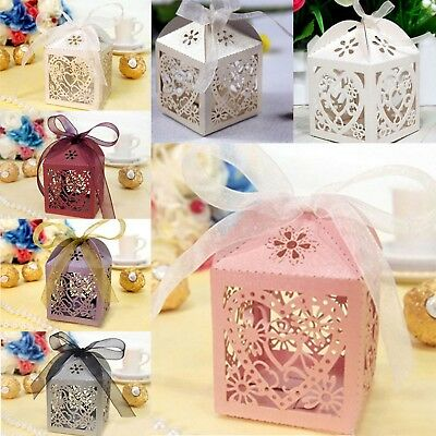 50/100Pcs Love Heart Favor Ribbon Gift Box Candy Boxes Wedding Party Decor
