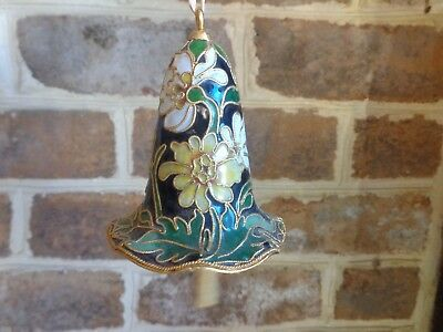 FLUTED CLOISSONNE BELL - Ornament -Black-Green-White-Yellow Flowers