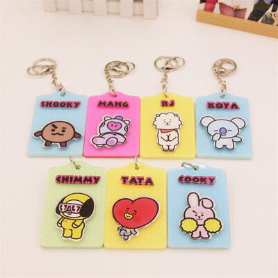 Kpop BTS Bangtan Boys Cartoon ID Case with Badge Card Holder Lanyard Key Chain
