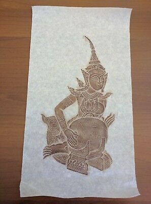 """Vintage Thai Temple Rubbing on Thick Rice Paper 12.5"""" x 20"""""""