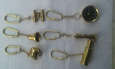 Set Of 6 Pcs Vintage Nautical Hand Made Solid Brass key ring Collection
