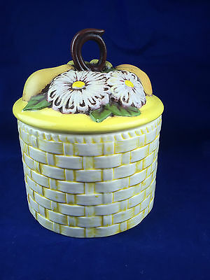 vintage yellow porcelain canister basket weave design fruit daisy lid pear peach