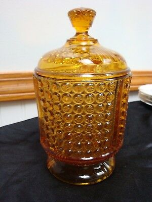 Eapg Richards And Hartley Glass Amber Three Panel Sugar Bowl And Lid