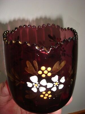 Jefferson Glass Co Amethyst Hand Painted Small Optic Bowl Vase