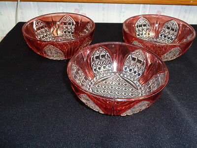 Eapg Bryce Bros Cathedral Waffle Cranberry Flashing Berry Desert Bowls