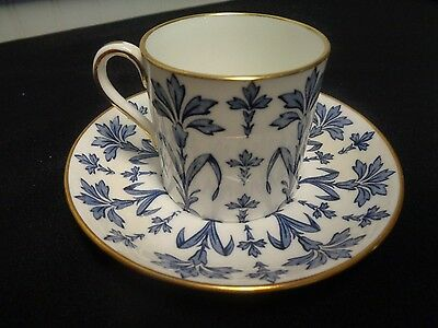 Hammersley #6228 Blue Floral Demitasse Cup And Saucer