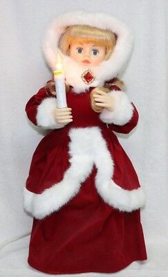 Vintage TELCO Motion-ettes of Christmas Animated Little Girl w/Candle, Red Dress