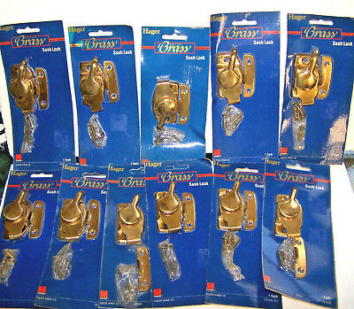 WINDOW SASH LOCK SOLID BRASS w/ KEEPER 11 SET HAGER LOT HOME HARDWARE VINTAGE